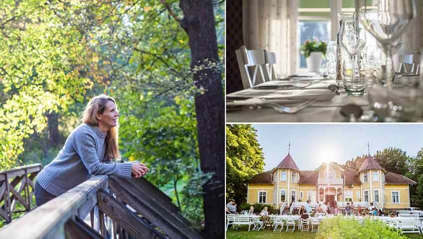 collage with woman, set table and guest house