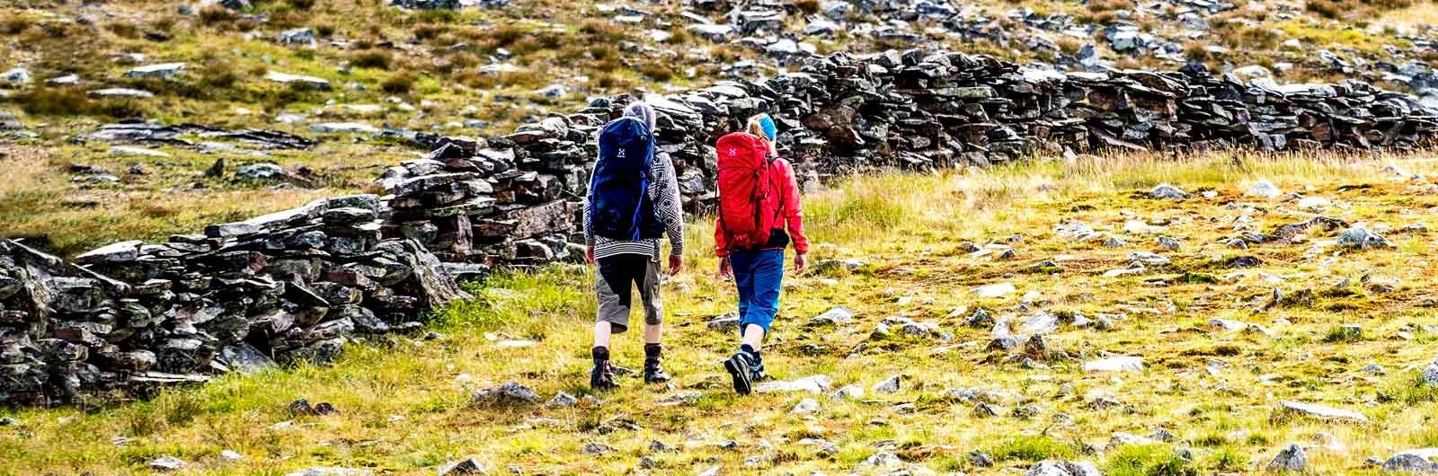 Hikers with backpacks on Höglandsleden Trail