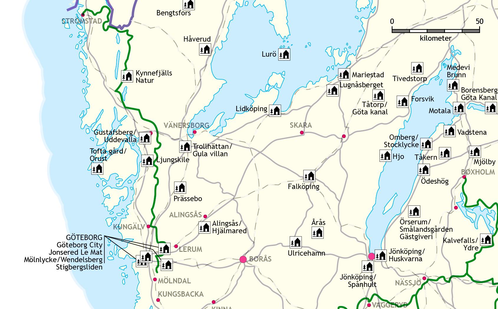 Karta Alingsas Boras.The Bohusleden Trail Swedish Tourist Association