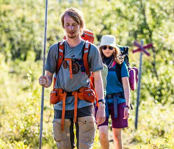 Two hikers on trail in Abisko