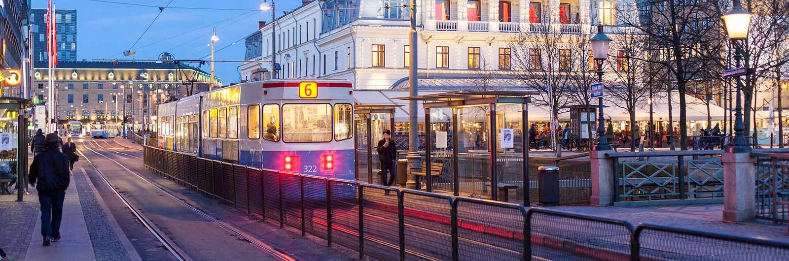 Tram and Gothenburg city at night