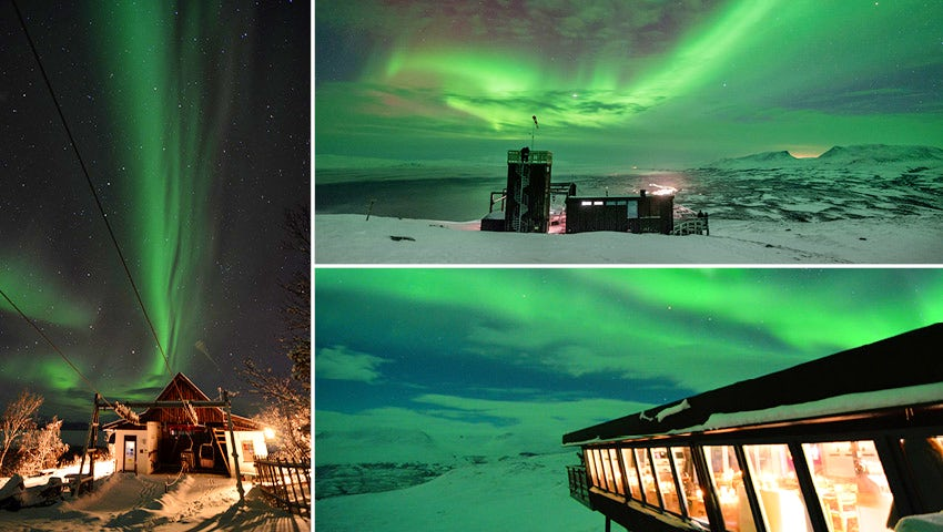 northern lights from STF Aurora Sky Station in Abisko, Sweden